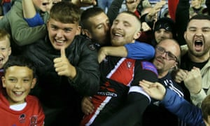 Jackson Hastings is at the centre of celebrations at the end of a remarkable win at Wigan.