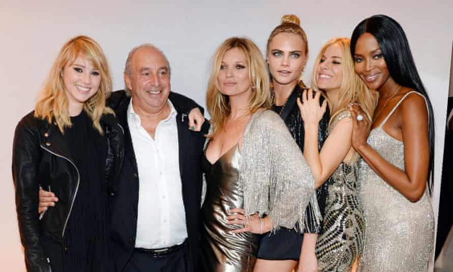 Philip Green with, from left, Suki Waterhouse, Kate Moss, Cara Delevingne, Sienna Miller and Naomi Campbell.