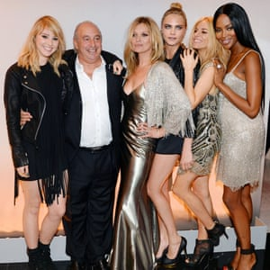 Philip Green with Suki Waterhouse, Kate Moss, Cara Delevingne, Sienna Miller and Naomi Campbell.