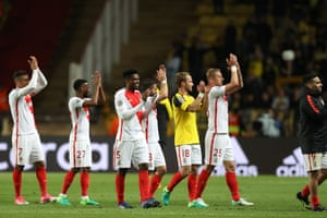 Monaco's players celebrate after defeating Dortmund.