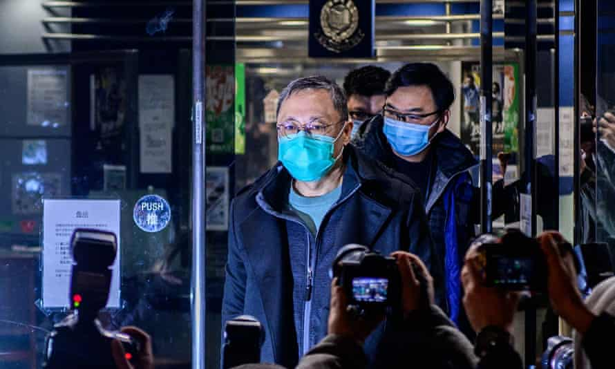 Hong Kong law professor and pro-democracy activist Benny Tai leaves Ma On Shan police station after his arrest under the national security law.