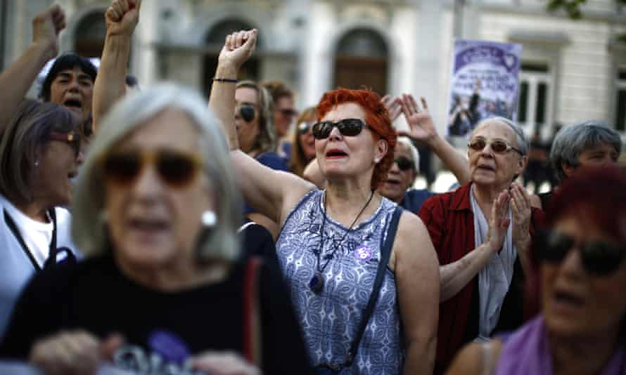 Women protesting outside the supreme court in Madrid, 21 June 2019.