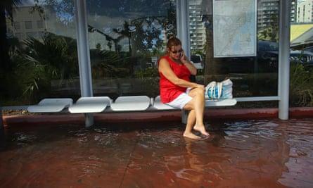 A flooded street in Miami Beach, Florida