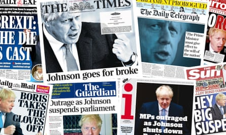 Front pages of the British papers on Thursday 29 August 2019 after PM Boris Johnson received approval to prorogue parliament, suspending it for five weeks.