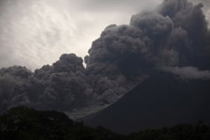 Thick clouds of ash are spewed from the volcano