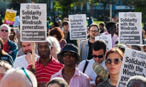 People attending a rally in London last week to show support for the Windrush generation.