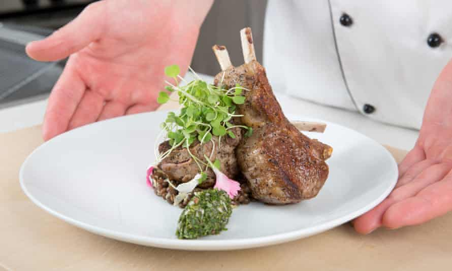 Lamb chop with a mint chutney, infused with cannabis