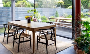 The dining room with Ercol table and Carl Hansen Wishbone chairs.
