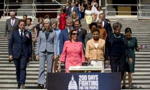House Speaker Nancy Pelosi and House Democrats arrive for a news conference on the first 200 days of the 116th Congress on September 2018.
