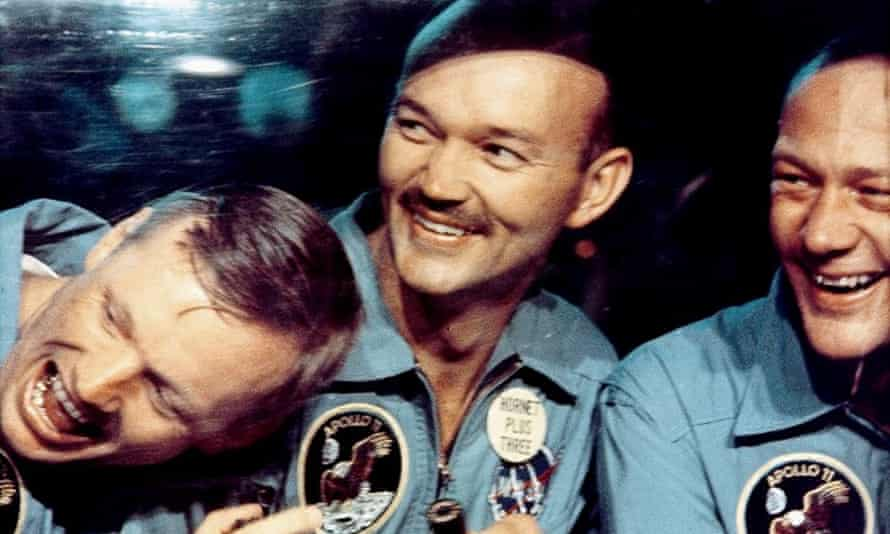 Michael Collins, centre, with Apollo 11 crewmates Buzz Aldrin, right, and Neil Armstrong, left, in a still from the documentary film In The Shadow Of The Moon, 2007.