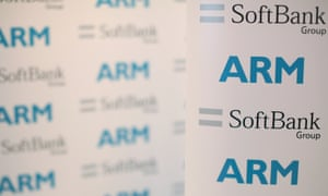 An ARM and SoftBank Group branded board displayed at news conference in London