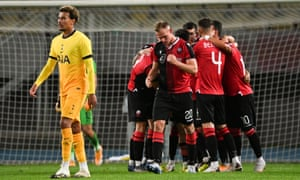 Shkendija's players celebrate Valmir Nafiu's second-half equaliser.