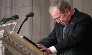 Former US President George W Bush becomes emotional as he speaks at the State Funeral for his father, former US President George HW Bush