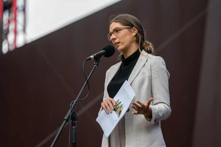 Evelyn Araluen speaking at the Wheeler Centre's Di Gribble Argument at the Malthouse Theatre in March 2021.