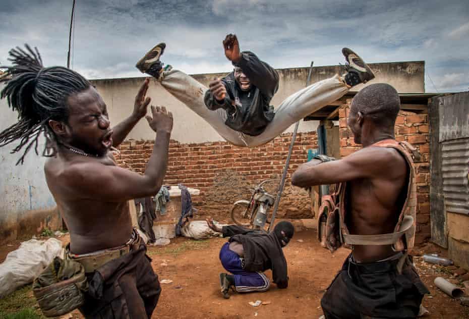 Ramon Film Studio shooting a stunt for Operation Kakongoliro! The Ugandan Expendables in Wakaliga