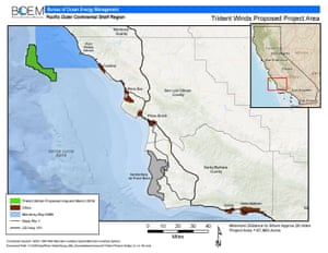 Map of the Trident Winds project off the coast of California.