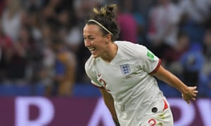Lucy Bronze celebrates after scoring a goal against Norway in the Women's World Cup quarter-final.