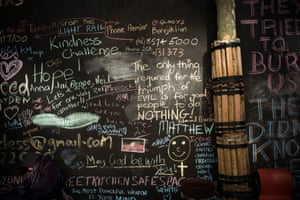 Messages of solidarity and support chalked onto the wall at Martin Place