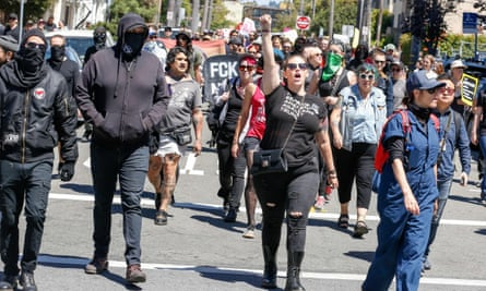 """Counter-protesters were arrested at an """"alt-right"""" rally in Berkeley."""