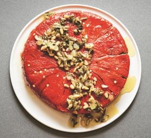 Sarit Packer and Itamar Srulovich's red pepper, vine leaf and goat's cheese dolma cake.
