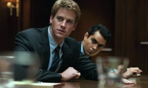 Armie Hammer as Cameron Winklevoss and Max Minghella as Divya Narendra in The Social Network.
