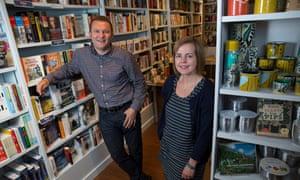 Carrie and Tim Morris, inside their bookshop Booka.