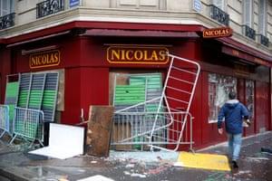 A vandalised wine shop