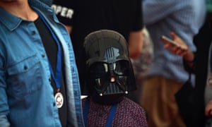 A young fan dressed as a Star Wars character arrives at the Australian premier of 'Star Wars: The Force Awakens' in Sydney on 16 December.