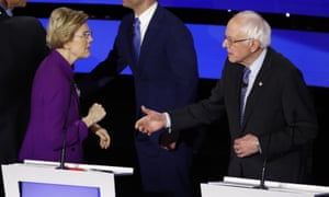 Warren appeared to refuse a handshake from Sanders at the end of the debate in Des Moines.