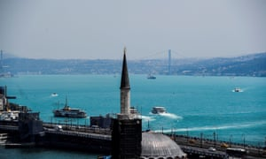 The Bosphorus in Istanbul has turned turquoise due to phytoplankton