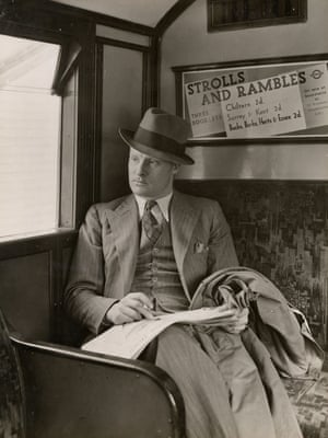 A well-dressed passenger relaxes on seating upholstered with wool moquette, May 1936