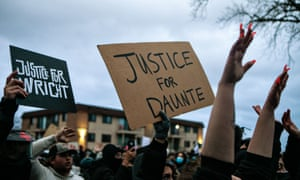 A protest in support of Daunte Wright in Brooklyn Center on Wednesday night.