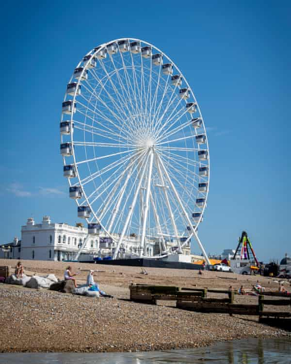 Worthing Observation Wheel, seafront attraction in Worthing, West Sussex, England, UK.