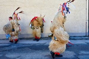 villagers in Ptuj dressed as Kurent, the protagonist of Slovenia's oldest holiday, Kurentovanje