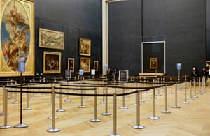 Paris, France – The Mona Lisa in a deserted Louvre museum as the Covid-19 pandemic keeps tourists away