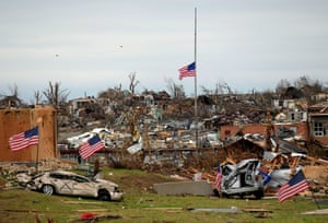 Tornado devastation in Joplin, Missouri, in May 2011