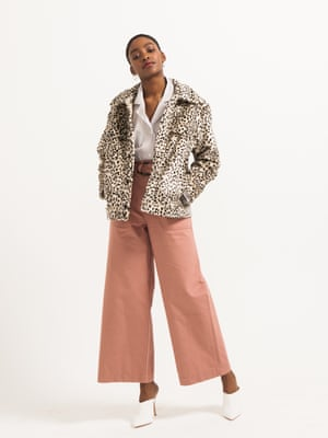 model wears jacket, £59.99, hm.com. Shirt, £175, norseprojects.com. Jeans, £129, whistles.com. Mules, £30, by Misguided from schuh.co.uk. Earrings, £59.50, jcrew.com.