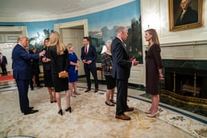President Donald Trump and first lady Melania Trump with Sen. Kelly Loeffler (R-Ga.), left, and Sen. Thom Tillis (R-N.C.) with Judge Amy Coney Barrett, right, at a reception on the day of Barrett's nomination inside the White House in Washington, Sept. 26, 2020. Sen. Josh Hawley (R-Mo.) is at center. (Doug Mills/The New York Times) Credit: New York Times / Redux / eyevine For further information please contact eyevine tel: +44 (0) 20 8709 8709 e-mail: info@eyevine.com www.eyevine.com