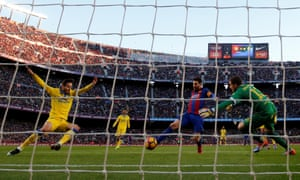 Lionel Messi scores Barcelona's second goal in a routine victory that keeps them in touch with the leaders Real Madrid.