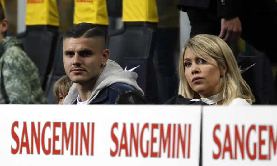 Inter's Mauro Icardi sat in the stands with his wife Wanda Nara as his side lost to Lazio.