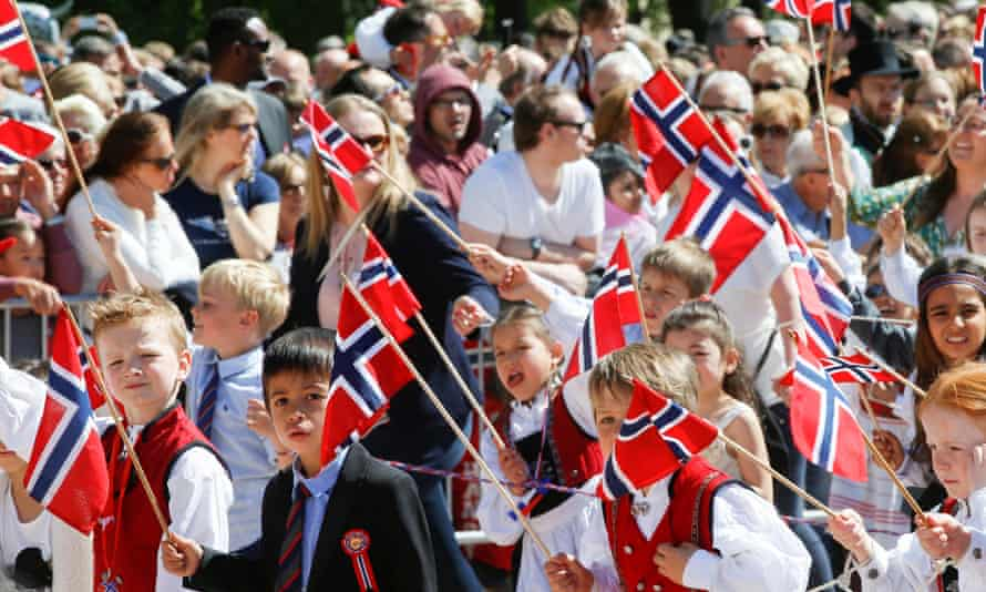 Children during a parade on national day in Oslo, Norway, 2016
