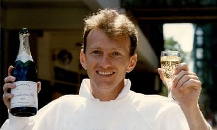 Neil Fairbrother celebrates his 366 against Surrey