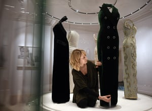 Some of the gowns are prepared for the exhibition.