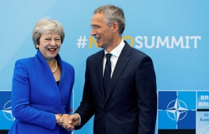 Jens Stoltenberg continues his meet and greet role by welcoming Theresa May
