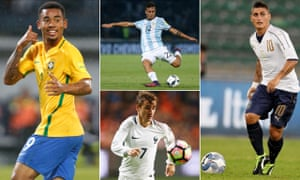 Players set to light up next year's World Cup (clockwise from left): Gabriel Jesus of Brazil, Argentina's Paulo Dybala, Marco Verratti of Italy and France's Antoine Griezmann.