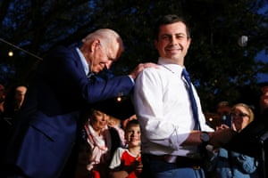 Pete Buttigieg with Joe Biden on Super Tuesday in March. Buttigieg dropped out of the presidential race to endorse Biden.