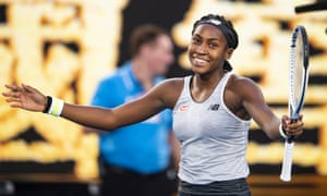 Coco Gauff of the United States celebrates after winning match point against Naomi Osaka.