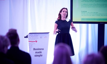 Dr Valentina Ferretti speaking at the Business Made Simple event in Manchester.
