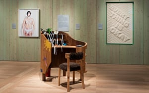 Touching … James Leadbitter's pulpit-like desk and chair installation.