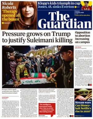 Guardian front page, Monday 6 January 2020